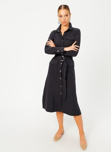 Fabrika Fabrika Gömlek Yaka Düz Lacivert Elbise Lacivert